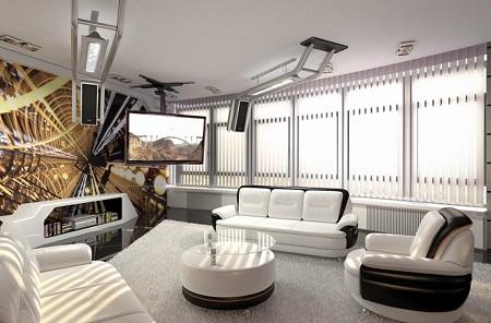 Выбор мебели в гостиную в стиле техно: особенности и характеристики