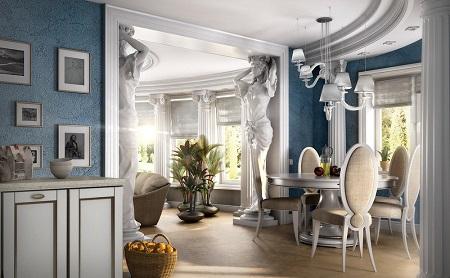 Интерьер помещения в античном стиле и его характерные особенности