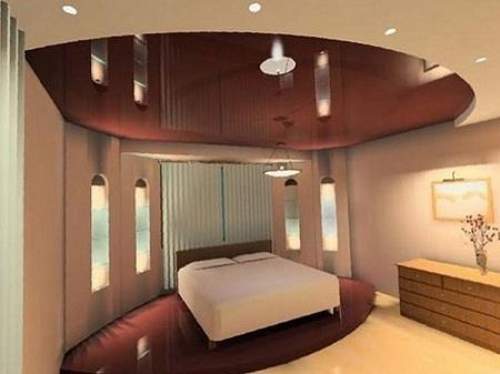 Устройство и монтаж натяжного потолка из гипсокартона в спальне