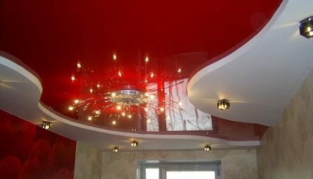 Преимущества двухуровневых натяжных потолков на кухне: монтаж и устройство